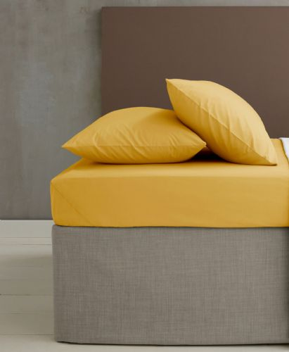 Catherine Lansfield Easy Iron Percale Ochre Fitted Sheet